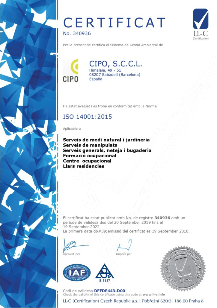 CERTIFICAT 14001